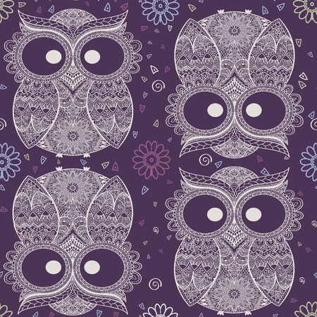 owl illustration: Vector illustration of owl. Bird illustrated in tribal. Owl whith flowers on violet background. Shaped and ornamental owl.