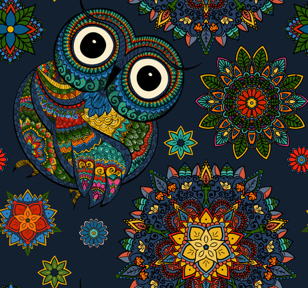 Vector illustration of owl. Bird illustrated in tribal.Owl whith flowers on light background. Shaped and ornamental owl. 일러스트