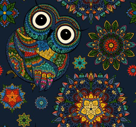buhos: Ilustraci�n del vector del b�ho. P�jaro ilustra en tribal.Owl poco con flores sobre fondo claro. Formado y ornamental b�ho.