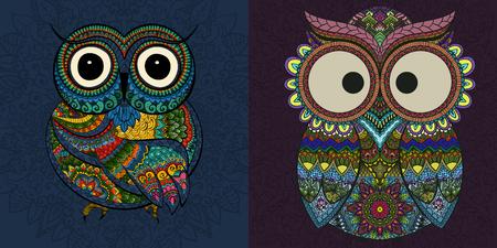 buhos: Ilustraci�n del vector, conjunto de b�hos ornamentales. P�jaro ilustra en la tribu. Conjunto de ornamentales B�hos poco con flores sobre fondo oscuro.