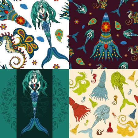 mermaid: Hand drawn Ornamental Mermaid, sea-horse and calmar.  Fairy-tale vector character of mermaid. Doodle Mermaid. Illustration