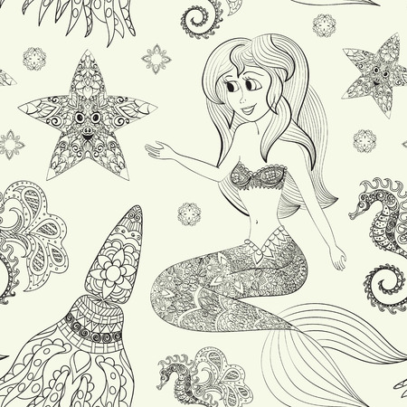 mermaid: Hand drawn Ornamental Mermaid.  Fairy-tale vector character of mermaid. Doodle Mermaid. Seamless pattern with mermaid