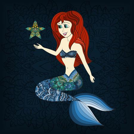 mermaid: Hand drawn Ornamental Mermaid.  Fairy-tale vector character of mermaid. Doodle Mermaid.