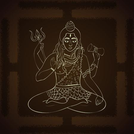 supreme: Lord Shiva. Hindu gods vector illustration. Indian Supreme God Shiva sitting in meditation. hand drawn vector illustration of Shiva.