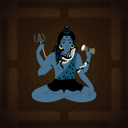 supreme: Lord Shiva. Hindu gods vector illustration. Indian Supreme God Shiva sitting in meditation. hand drawn vector illustration of Shiva.
