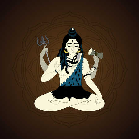 hand of god: Lord Shiva. Hindu gods vector illustration. Indian Supreme God Shiva sitting in meditation. hand drawn vector illustration of Shiva.