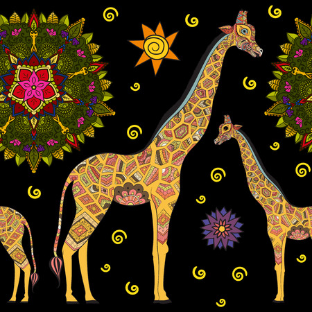 cute giraffe: Beautiful adult Giraffe. Hand drawn Illustration of ornamental giraffe.  isolated giraffe on dark background. Seamless pattern from an ornamental giraffe on dark