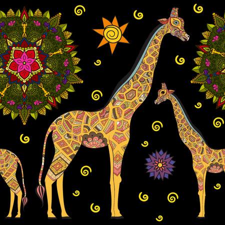giraffe: Jirafa adulta hermosa. dibujado a mano Ilustraci�n de jirafa ornamental. jirafa aislados sobre fondo oscuro. Patr�n sin fisuras de una jirafa ornamentales en obscuridad Vectores