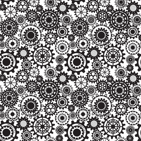 mechanical parts:  Seamless mechanism texture.  Illustration with cogwheels and mechanical parts.  Illustration