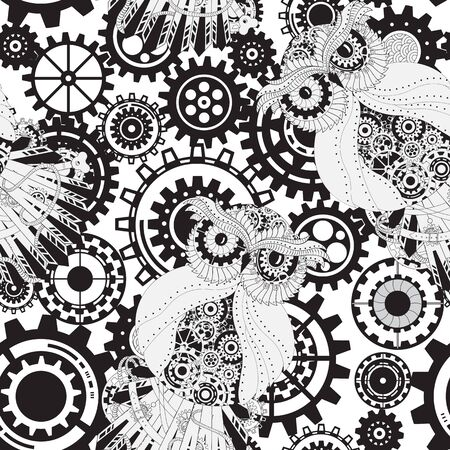 mechanical parts: Abstract Machine pattern. Seamless mechanism texture. Illustration with cogwheels, mechanical parts and owls.