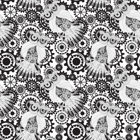 mechanical texture: Abstract Machine pattern. Seamless mechanism texture. Illustration with cogwheels, mechanical parts and owls.
