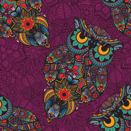 ethnics: illustration of owl. Bird illustrated in tribal.Owl with flowers on pink background. Shaped and ornamental owl.