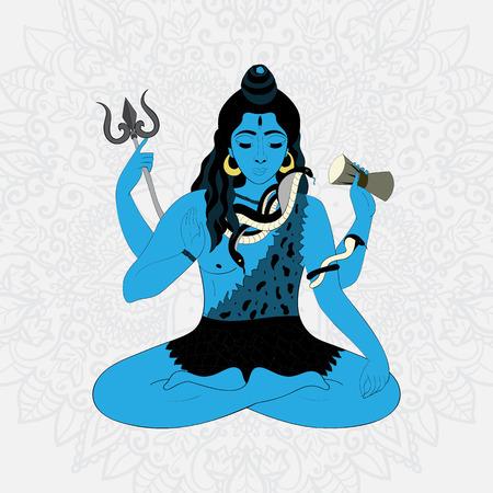 gods: Lord Shiva. Hindu gods illustration. Indian God Shiva sitting in meditation. hand drawn illustration of Shiva.