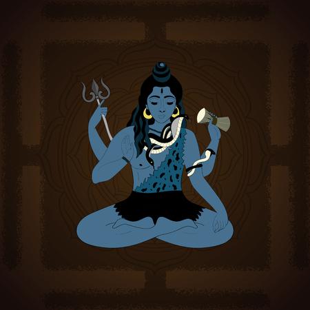 shiva: Lord Shiva. Hindu gods illustration. Indian God Shiva sitting in meditation. hand drawn illustration of Shiva.