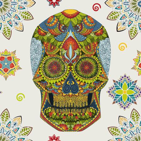 halloween skeleton: Day Of The Dead. Hand Drawn Skull ornamentrd flowers Stock Photo