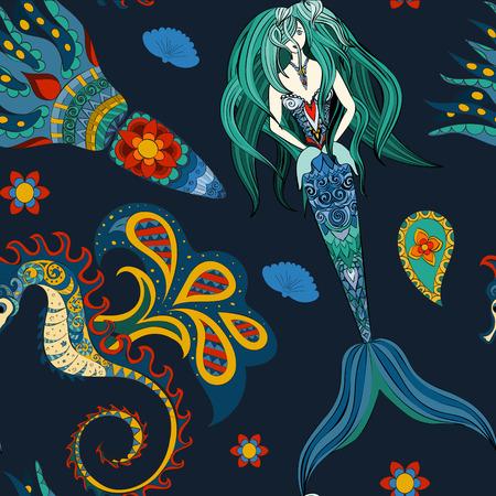 devil fish: Hand drawn Ornamental Mermaid, sea-horse and calmar, seamless, Mermaid dark pattern,  Girl with tall in tribal. Doodle Mermaid.Fairy-tale character of mermaid. Seamless mermaid pattern on dark.