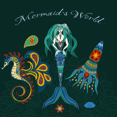 calmar: Hand drawn Ornamental Mermaid, sea-horse and calmar, Mermaid dark background, Girl with tall in tribal. Doodle Mermaid. Set of Mermaid, hippocampussea-horse, calamarKalmar, octopus background.