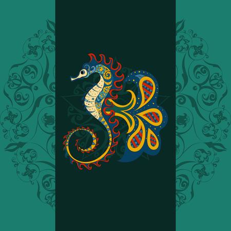 horse sea: Hand drawn Ornamental  sea horse. sea horse dark background, sea horse in tribal. Doodle sea horse. Colored sea horse on ornamental dark mandala background