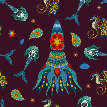 water nymph: Hand drawn Ornamental Mermaid, sea-horse and calmar. Fairy-tale character of mermaid. Doodle Mermaid.