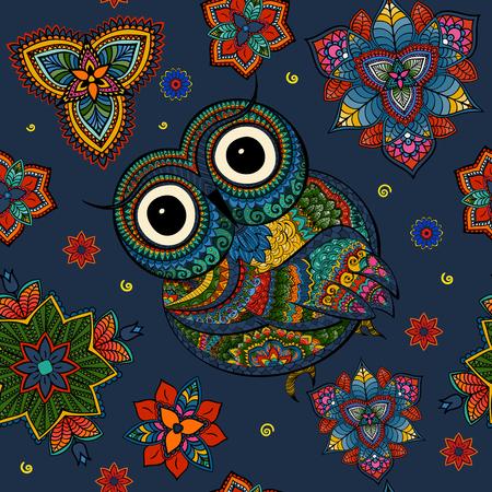 Sin Fisuras Patrón De Búho De Color Ornamentales Con Flores Y