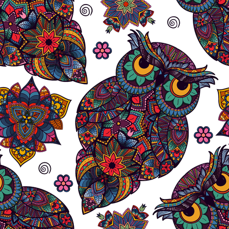 illustration of owl. Bird illustrated in tribal. Owl with flowers on light background. Shaped and ornamental owl. Isolated on white Stock Photo