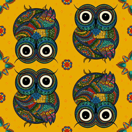 ethnics: illustration of owl. Bird illustrated in tribal.Owl whith flowers on light background. Shaped and ornamental owl.
