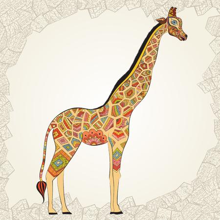 jirafa fondo blanco: Jirafa adulta. Ilustración de jirafa ornamental. jirafa aislados sobre fondo blanco. La cabeza de una jirafa en el estilo boho. Los animales de África Foto de archivo
