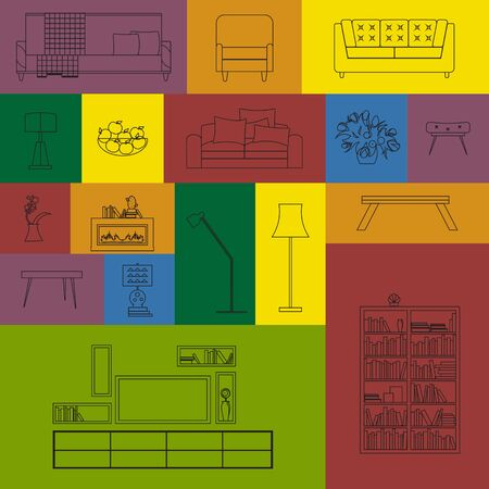 furniture design: Vector collection of modern outline furniture icon set. Set of furniture design elements. Outline furniture set. Furniture set for living room. Isolated colorful outline furniture icons.
