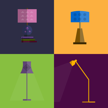 lampshade: Icon set of flat Lamps. Modern flat lampshade set. Lamp icons for interior. Isolated vector lamps. Light lamp equipmants. Interior elements set. Vector flat lampshade sat. Isplated lamp shades icons