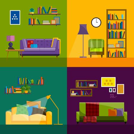 decoracion mesas: salón Inter. El diseño plano de la ilustración moderna sala de estar. Living pared de la sala. Los muebles para la sala de estar. Sala de estar en estilo plano. Concepto para la sala de estar. Salón inter conjunto.