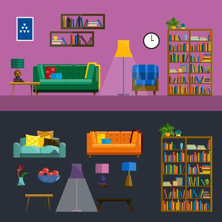 modern living room: Living room Interior. Modern flat design of living room illustration. Living room wall. Furniture for living room. Living room in flat style. Concept for living room. Living room interior set. Illustration
