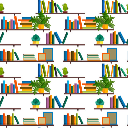 digital library: Flat line colorful seamless pattern of global education, e-learning, online training and courses, video tutorials, staff training, digital library, retraining and specialization. Illustration