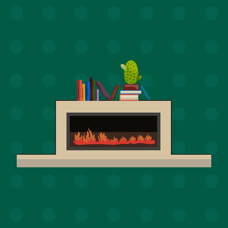hearth and home: Vector illustration of fireplace in flat style. Design element for interior design, fireplace with fire. Fireplace with books and cactus on it.