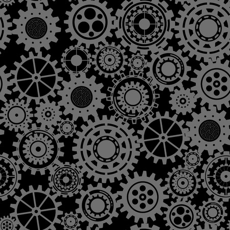 mechanical texture: Abstract Machine pattern. Seamless mechanism texture. Vector illustration with cogwheels and mechanical parts. Black gears, steampunk seamless pattern
