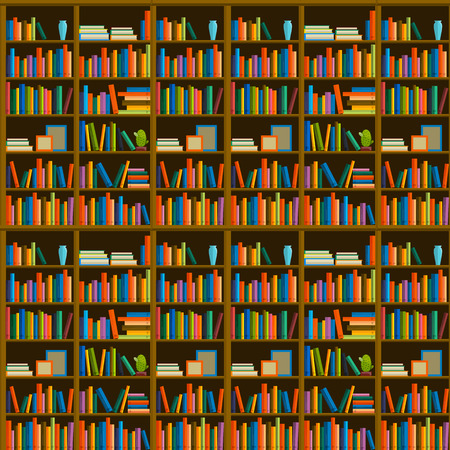 Library, bookstore - Seamless pattern with books on bookshelves. Books in shelves for bookstore. Seamless pattern from books for bookshop. Sale in bookstore.
