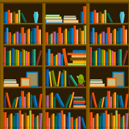 bookshop: Library, bookstore - Seamless pattern with books on bookshelves. Books in shelves for bookstore. Seamless pattern from books for bookshop. Sale in bookstore.