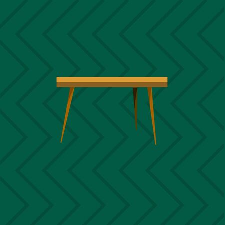 lunch room: Wooden Table in living room flat icon. Table icon on red background. Table is design element of living room. Decorative flat table.