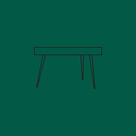 Banque Du0027images   Outline Table Dans Le Salon Icône Plat. Table Icône Sur  Fond Rouge. Le Tableau Est élément De Conception De Salon. Table Plate  Décorative.