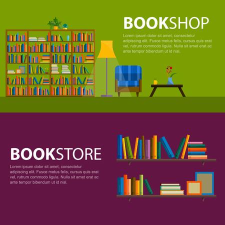 Bibliotheek, boekhandel - Naadloze patroon met boeken op boeken kasten. Boeken in planken voor boekhandel. Naadloze patroon van boeken voor de boekhandel. Koop in boekhandel. Stock Illustratie