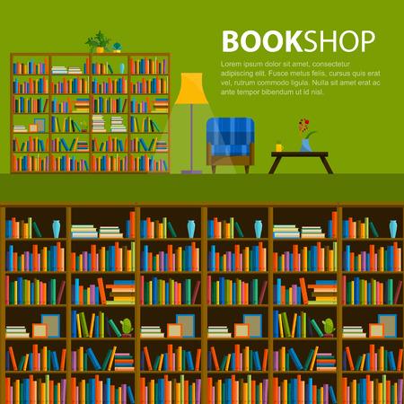 Biblioteca, librería - Patrón sin fisuras con los libros en las estanterías. Libros en los estantes de una librería. Patrón sin fisuras de libros para la librería. Venta en librería. Ilustración de vector