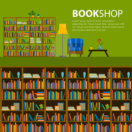 library shelf: Library, bookstore - Seamless pattern with books on bookshelves. Books in shelves for bookstore. Seamless pattern from books for bookshop. Sale in bookstore.