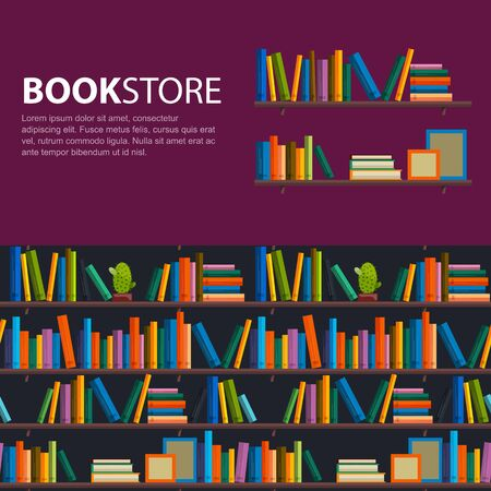 books library: Library, bookstore - Seamless pattern with books on bookshelves. Books in shelves for bookstore. Seamless pattern from books for bookshop. Sale in bookstore.