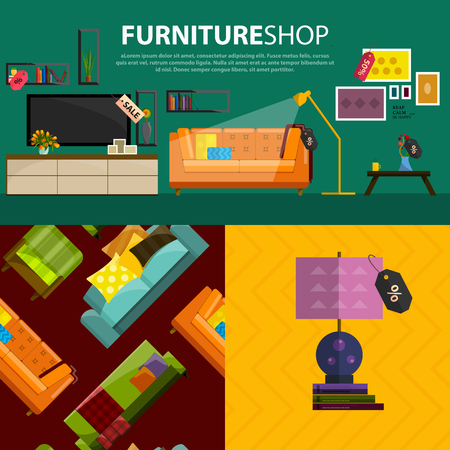 shop furniture: A vector illustration of sale products in a furniture store. Furniture shop interior. Furniture store products in flat style. Concept of Furniture store.