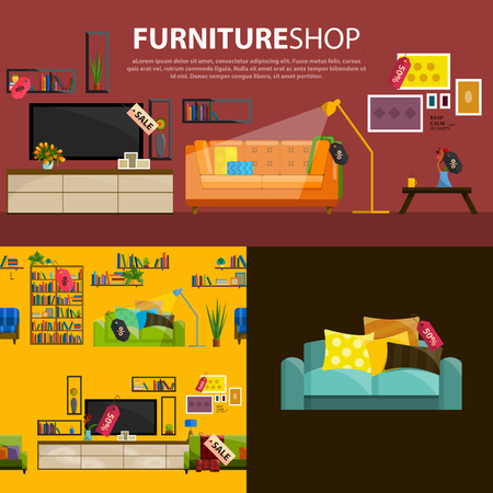 furniture store: A vector illustration of sale products in a furniture store. Furniture shop interior. Furniture store products in flat style. Concept of Furniture store.