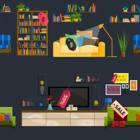 shop furniture: Furniture Shop Super Sale Vector Illustration. Sale in furniture shop. Sale labels on furniture in store. Furniture shop sale. Set furniture for sale. Tag sale on furniture interior