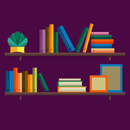 bookshelf: Bookshelf with books in vector. Bookshelf in a flat style with long shadow. Illustration of modern shelves for books. Wall bookshelf with a stack of books. Wooden bookshelf with books in the series. Illustration