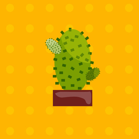 plant pot: Illustration of houseplant, indoor and office plant in pot. Vector plant cactus in pot. Flat cactus, vector icon of cactus. Office plant in pot. Illustration