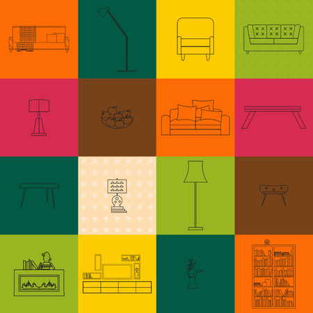 bunner: Home, hotel room interior with comfortable furniture outline vector illustration. Outline furniture bunners. Living room outline furniture. Outline furniture color bunner set. Outline furniture concept Illustration