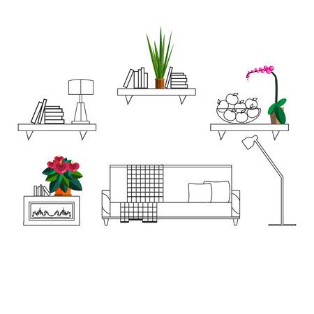 intérieur avec des fleurs de décoration dans le hall de la maison moderne. Homeplant dans un intérieur moderne. Conception de fleurs à l'intérieur de la maison. La conception des installations dans les grandes lignes chambre. Accueil plante intérieur esquisse
