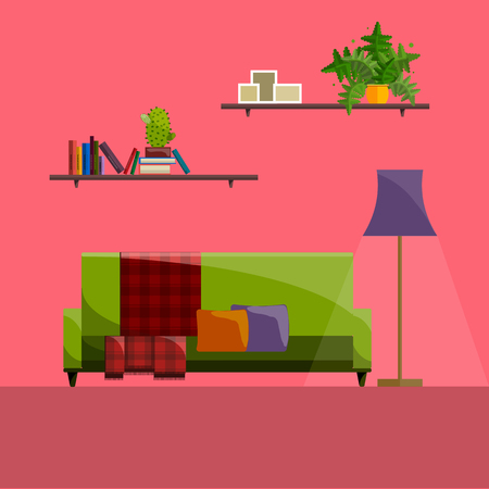 Living room Interior. Modern flat design of living room illustration. Living room wall. Furniture for living room. Living room in flat style. Concept for living room. Living room interior set.  イラスト・ベクター素材